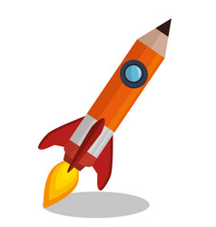Rocket pencil isolated icon vector
