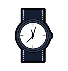 Round wristwatch accessory time fashion icon vector