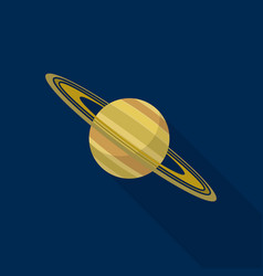 saturn planet icon flat style vector image