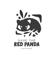 Save the red panda logo design protection of wild vector