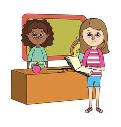 school education girls cartoon vector image