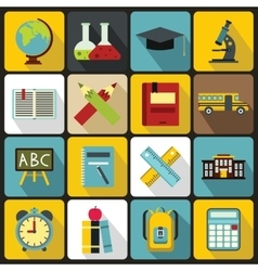 School icons set flat ctyle vector image