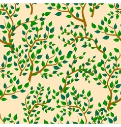 Seamless background with tree leafs vector image