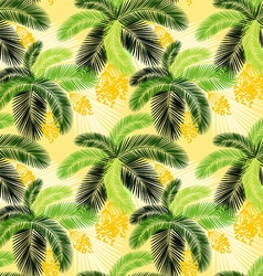 Seamless color palm leaves and fruit pattern vector image