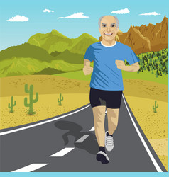 Senior man running on road in mountains vector