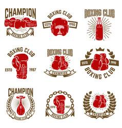 Set boxing club emblems boxing gloves vector