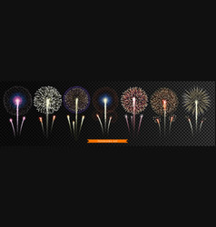 set bright realistic fireworks vector image