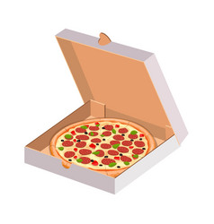 set brown cartoon and paper pizza box vector image