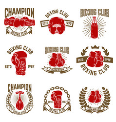 Set of boxing club emblems boxing gloves vector