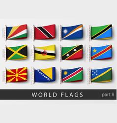 Set of flag labels vector