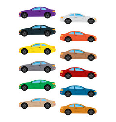 set of multicolored car vector image