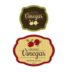 Set vintage apple cider vinegar label frame design vector