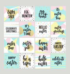 set with happy easter gift tags and cards vector image