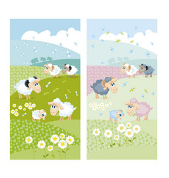 Sheeps on green hills with white flowers vector