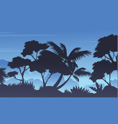 Silhouette of rain forest landscape vector