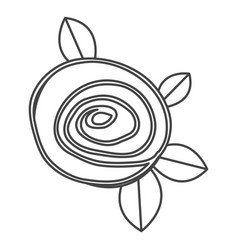 Silhouette sketch drawing rose with leaves closeup vector