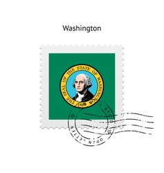 State of Washington flag postage stamp vector