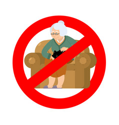 stop grandmother ban old woman and cat red vector image
