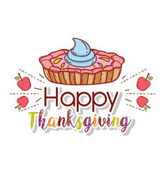 Sweet cake with apples fruit to thanksgiving vector