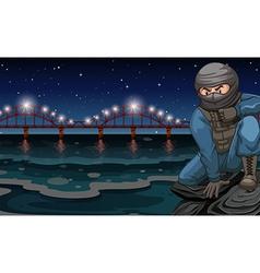 Terrorist sitting river vector