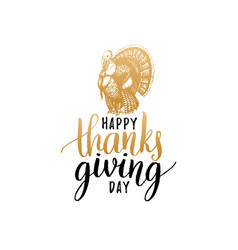 thanksgiving day lettering with festive turkey vector image