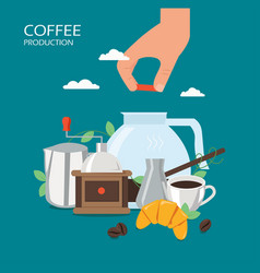 Turkish coffee production flat style design vector