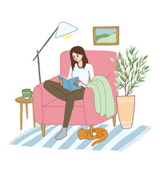 Young woman is relaxing in armchair with book vector