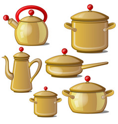 collection of kettle pan cups and a jug vector image vector image