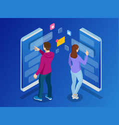 isometric woman and man typing on mobile vector image