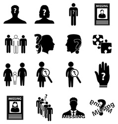 Missing person icons set vector image vector image