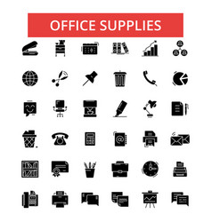 office supplies thin line icons vector image vector image