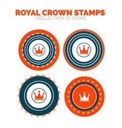 royal crown stamp premium icon set vector image