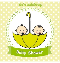 Twins baby shower vector image