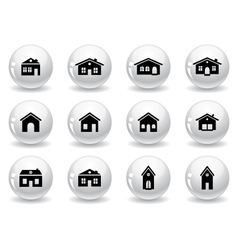 Web buttons house and buildings icons vector image vector image