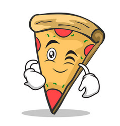wink face pizza character cartoon vector image