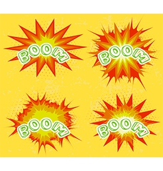 Boom Comic book explosion set vector image