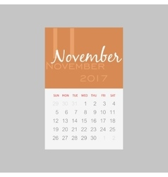 Calendar 2017 months november week starts sunday vector