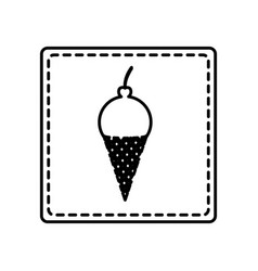 monochrome contour square and dotted line with ice vector image