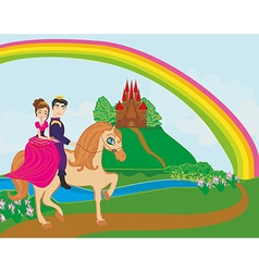 Prince and princes riding on horse vector image vector image