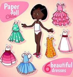 Very cute paper doll with six beautiful dresses vector image