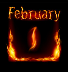 First february in calendar of fire icon on black vector