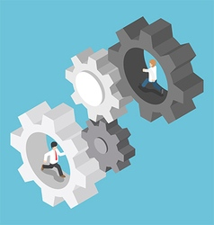 Isometric businessman running inside the gear vector image