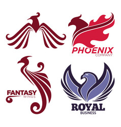 phoenix bird or fantasy eagle logo templates set vector image vector image