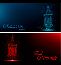 Ramadan kareem and eid mubarak beautiful greeting vector