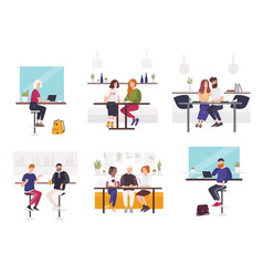 set of men and women sitting at cafe or restaurant vector image