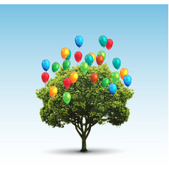 tree and balloons vector image
