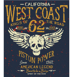 west coast motorcycle biker company american club vector image