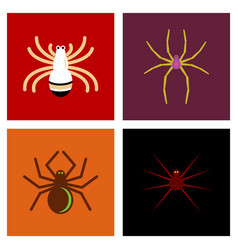 Assembly flat icons halloween spider vector