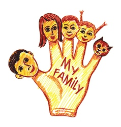 childs drawing of my family vector image