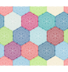 Coloured crochet hexagons vector image vector image